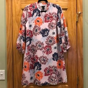 Ann Taylor Multicolor Floral Print Shift Dress